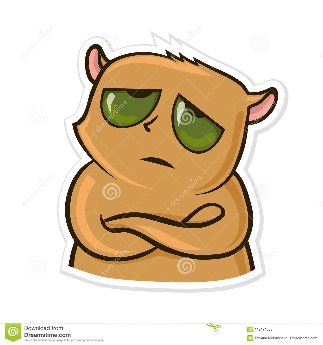 Sticker for messenger with funny animal. Tired or upset hamster. Vector illustration, isolated on white.