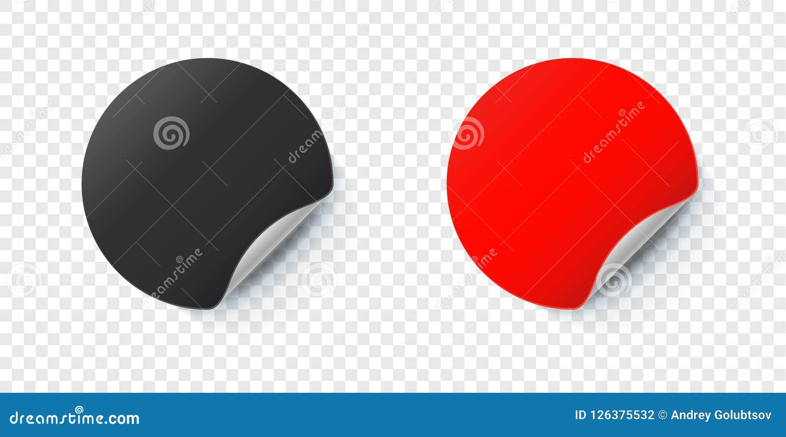 Sticker Mockup  Vector Round Folded Paper Label Stock Vector