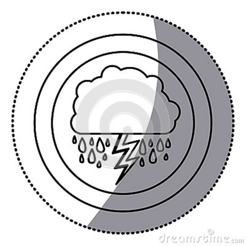 Sticker Monochrome Circular Frame With Cumulus Of Clouds With Rain