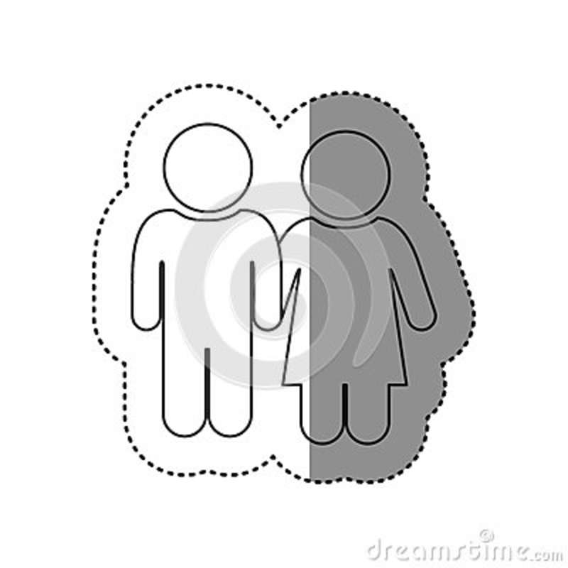 Sticker Of Monochrome Contour Of Pictogram With Couple Stock
