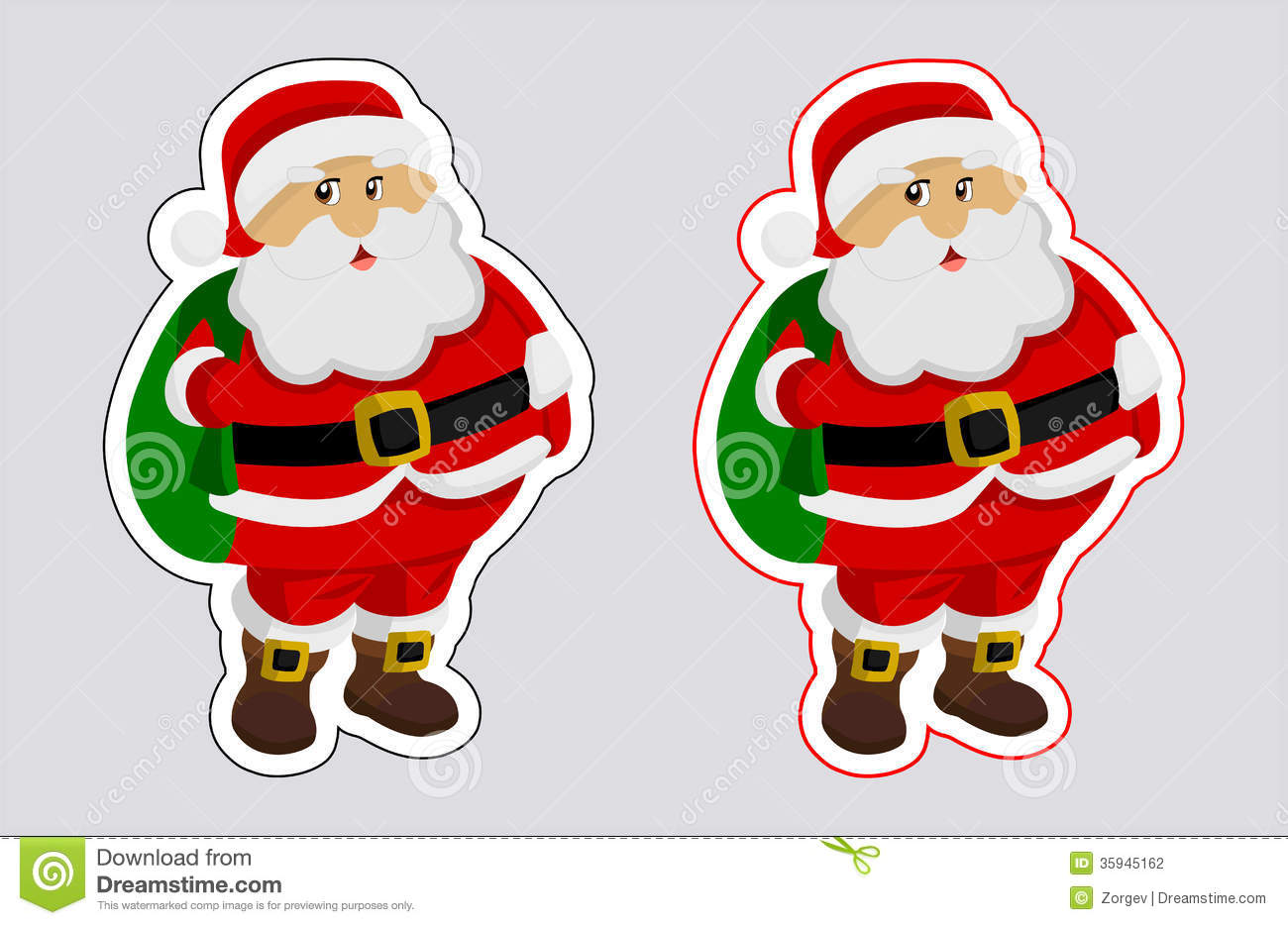 a sticker santa claus with outline color stock illustration