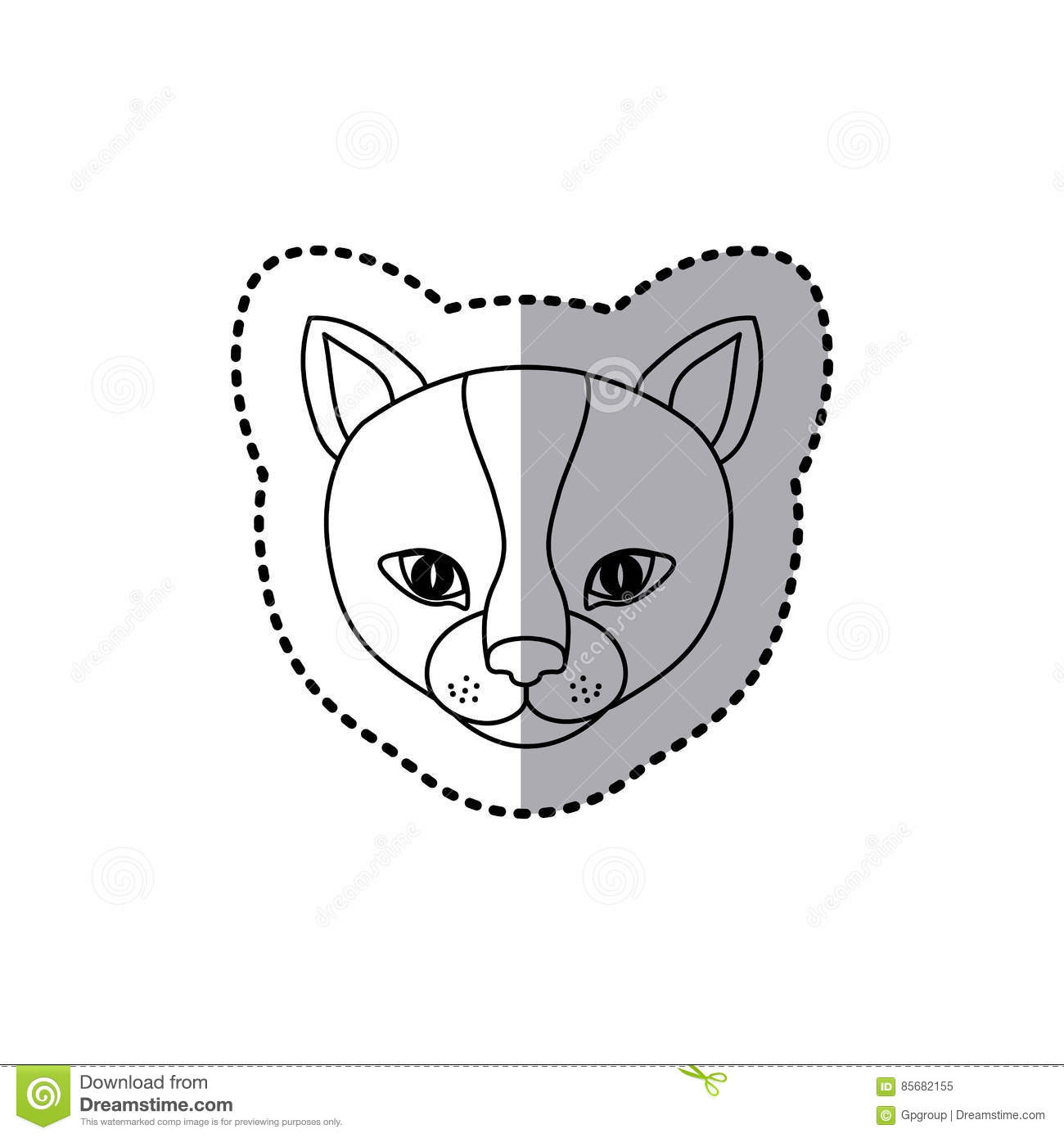Download Sticker Silhouette Close Up Cat Animal Stock Illustration