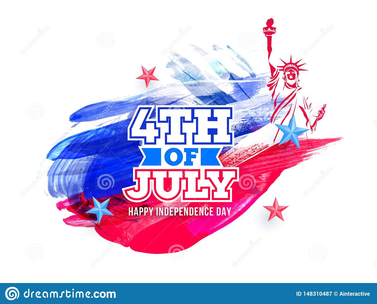 Sticker style text 4th Of July and Statue of liberty on brush stroke background for Happy Independence Day.