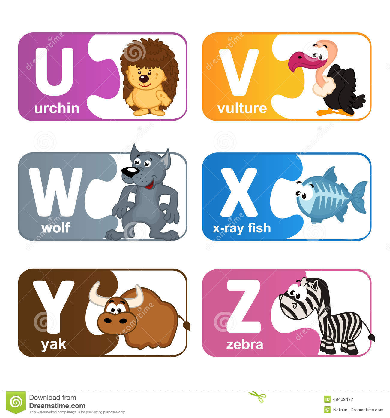 Stickers Alphabet Animals From U To Z Stock Vector - Illustration of