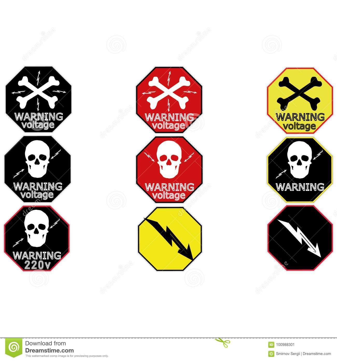 Warning Sticker Labels For Electrical Consumers Voltage