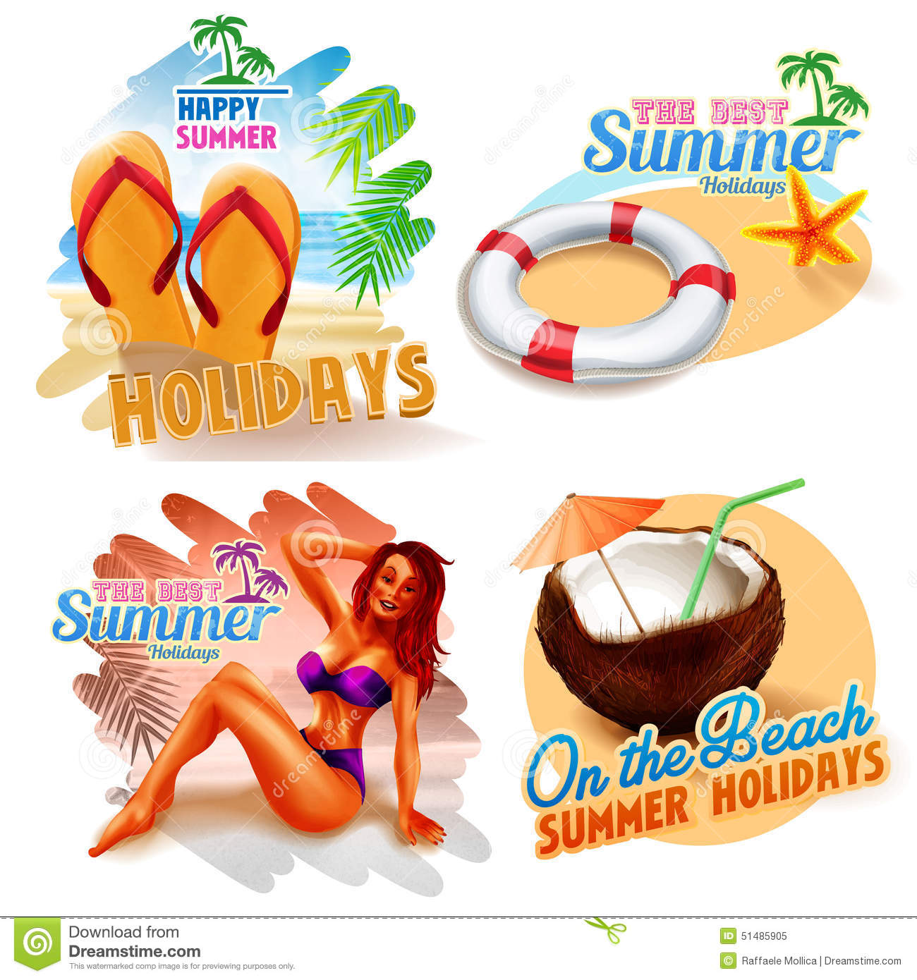 Stickers For Happy Summer Holidays