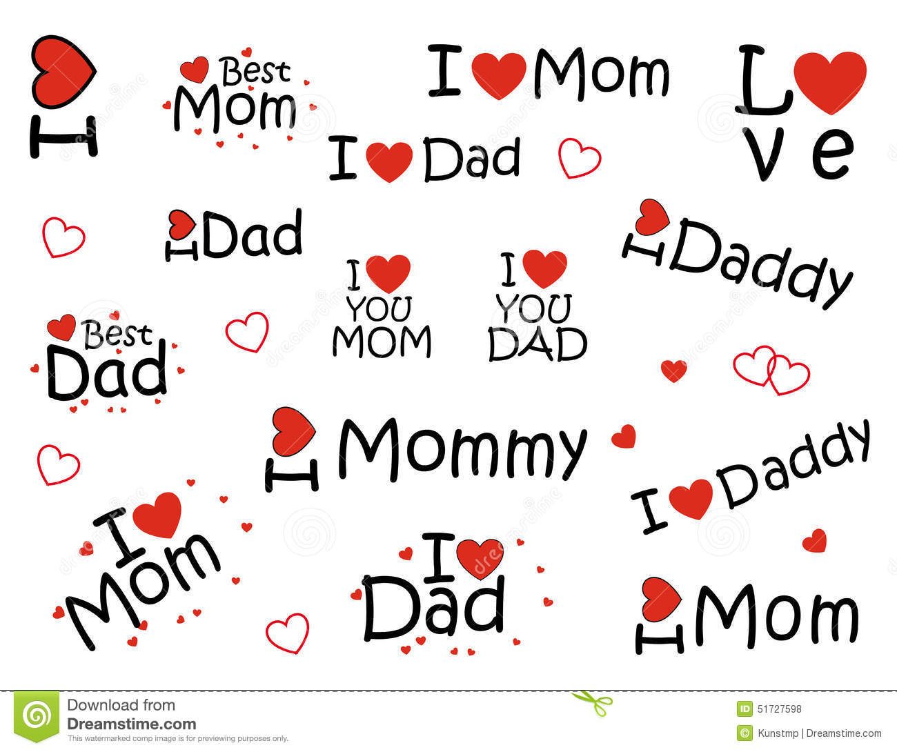 """Stickers """"i Love Mom"""" And """"I Love Dad"""", Stock Photo - Image: 51727598"""