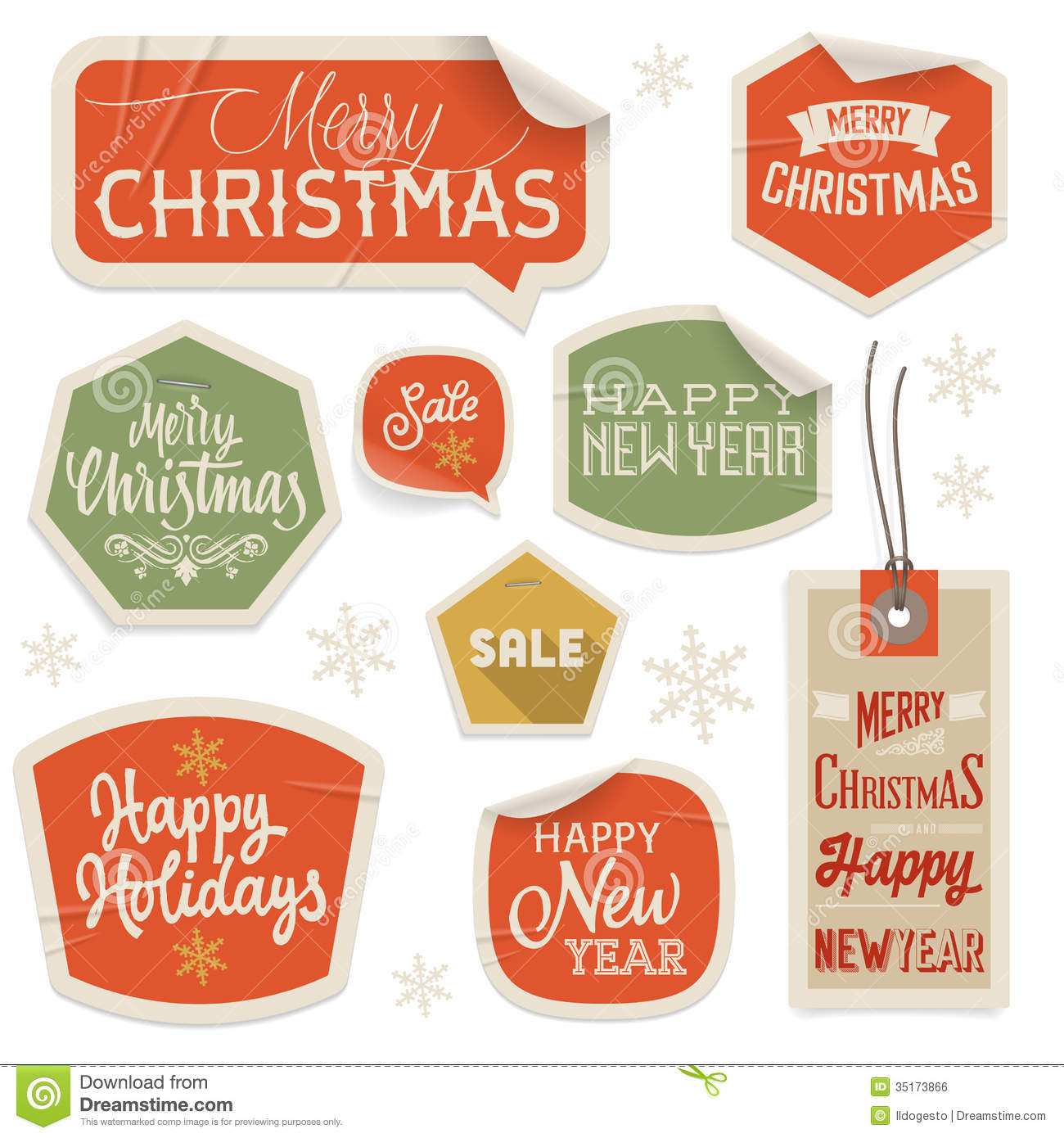 stickers and labels for christmas and new year stock vector