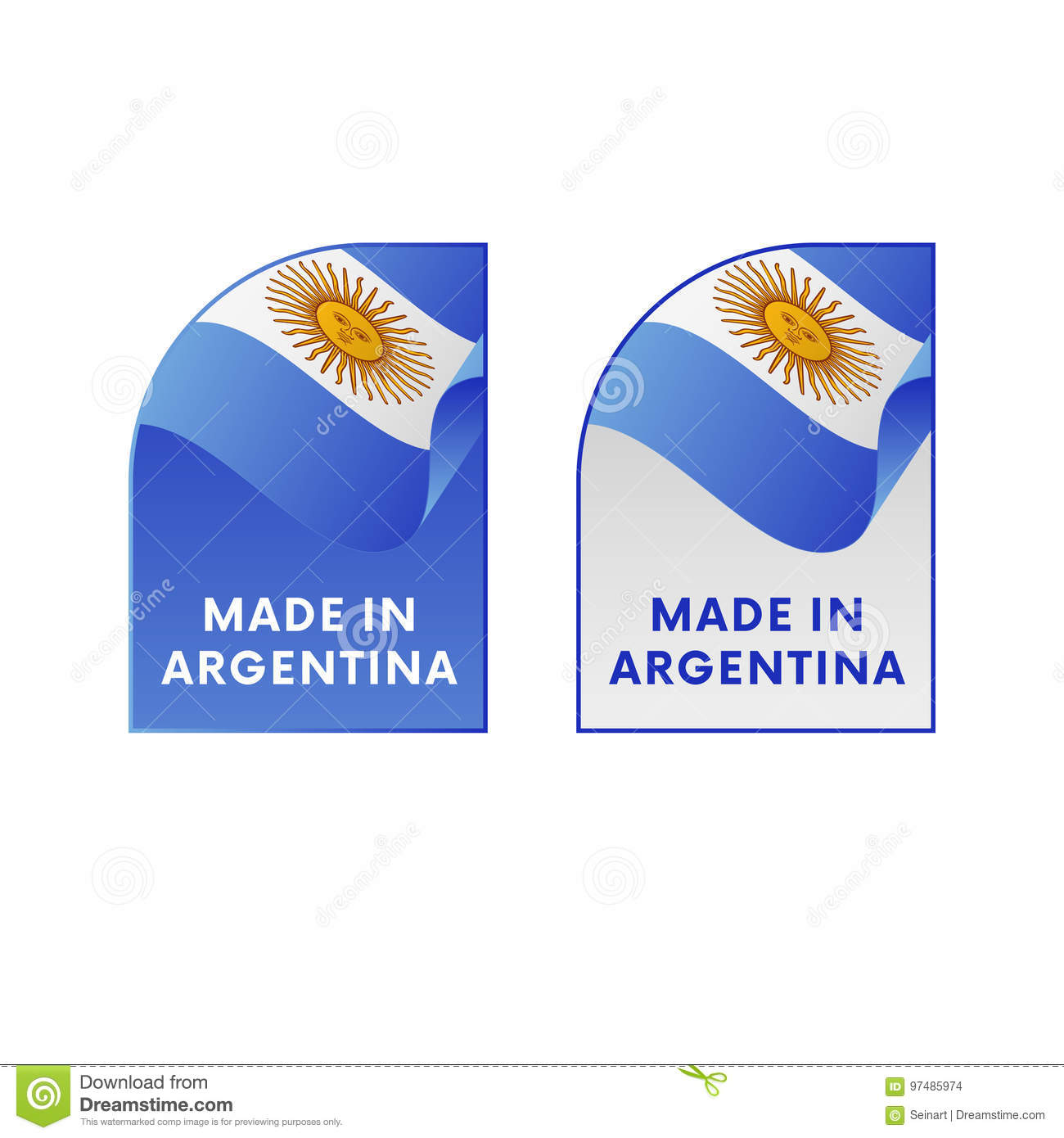 Stickers made in argentina vector