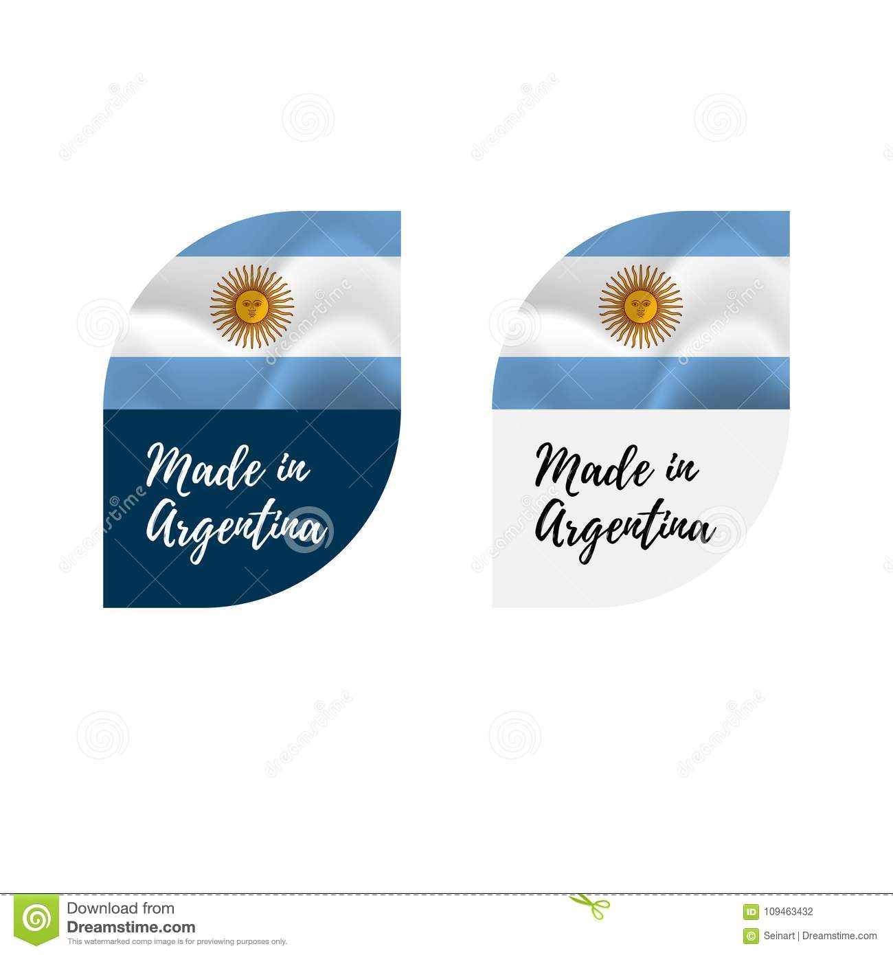 Stickers made in argentina waving flag isolated on white background vector illustration