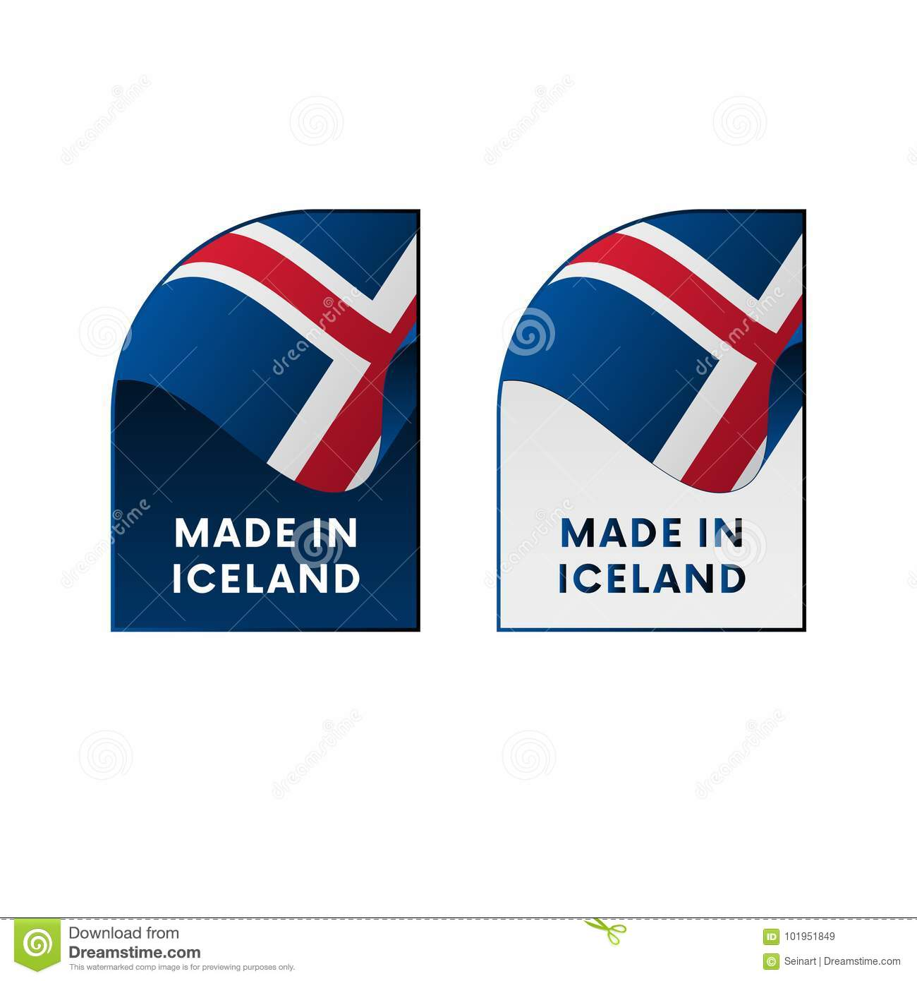 Stickers made in iceland vector illustration