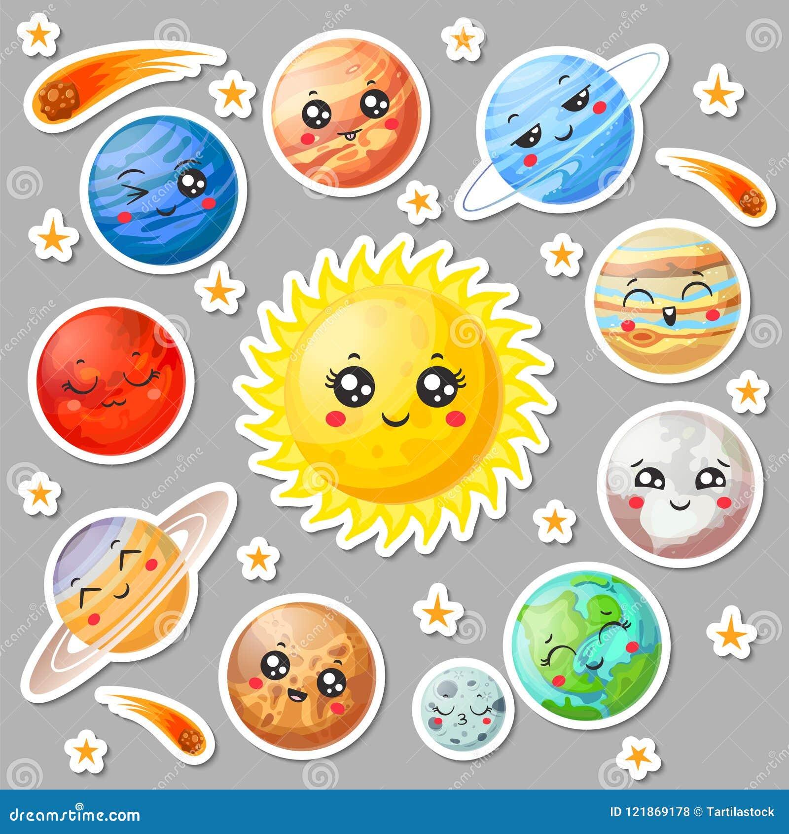 Stickers van beeldverhaal de leuke planeten Gelukkig planeetgezicht, het glimlachen aarde en zon De stickervector van het astrono