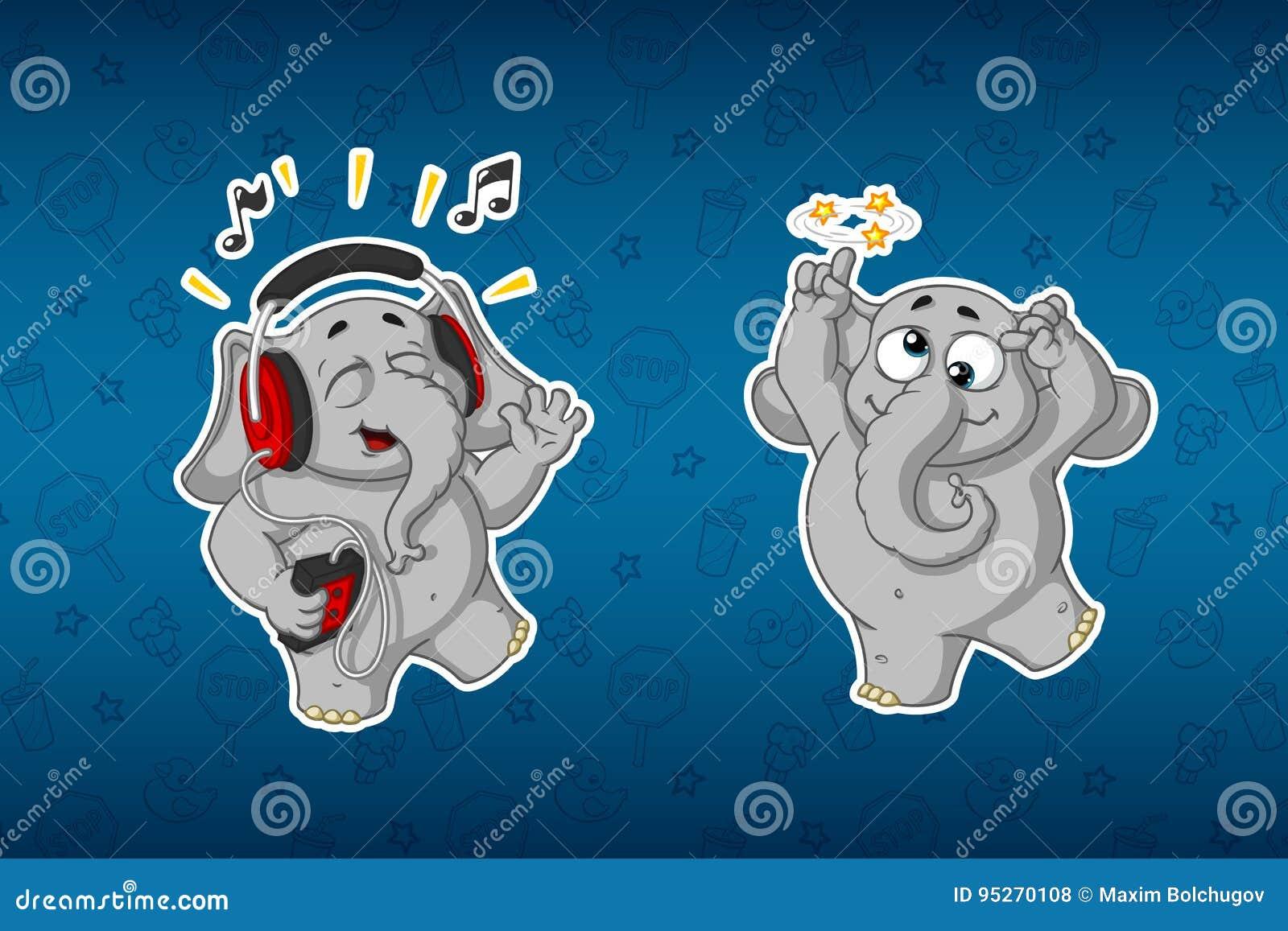 Stickersolifanten Vrolijk, luisterend aan muziek Hij ` s die gek gaan Grote reeks stickers Vector, beeldverhaal