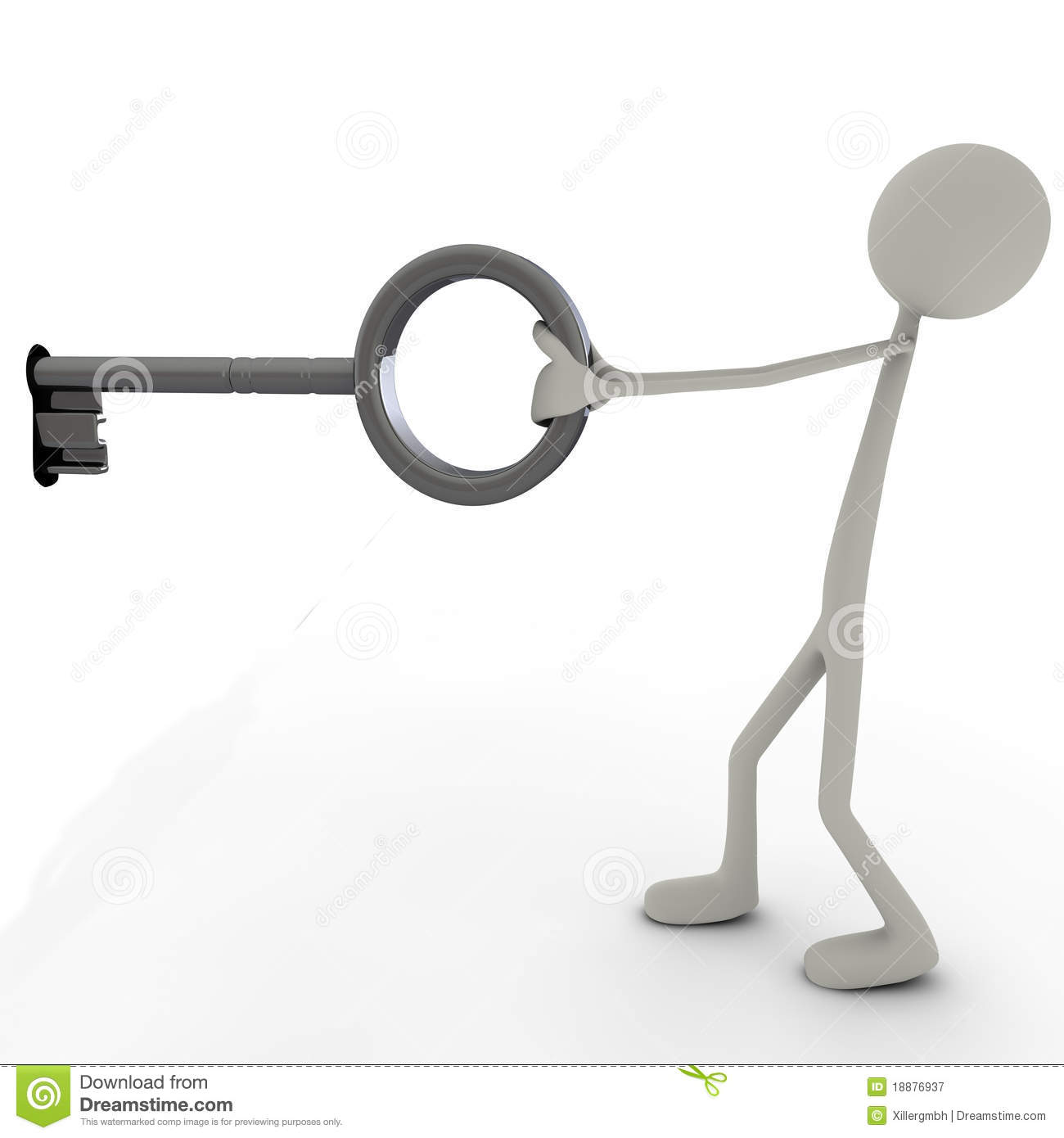 Stickman With A Key Royalty Free Stock Photography Image
