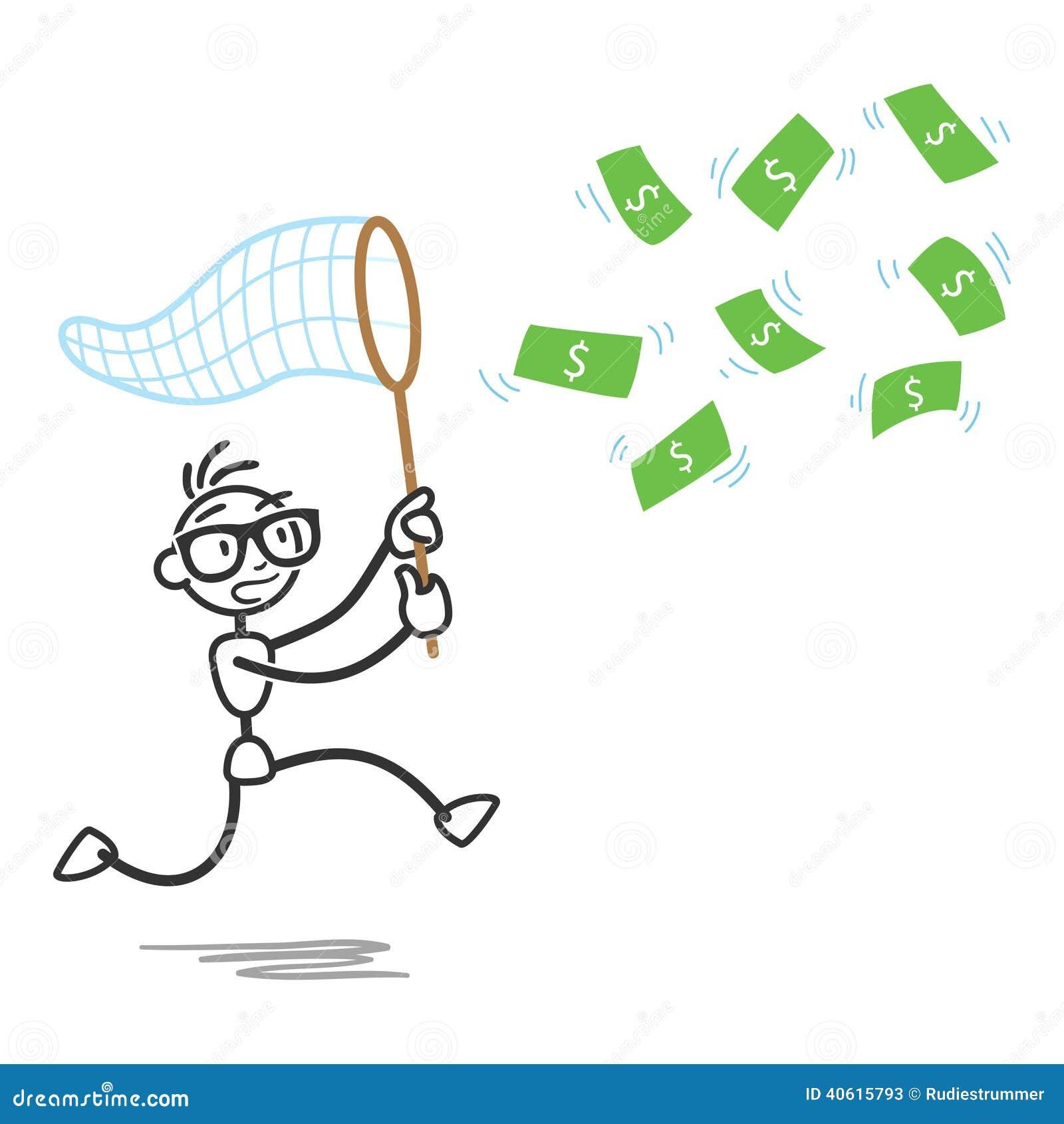 Stickman Money Bill Net Chasing Stock Vector - Image: 40615793