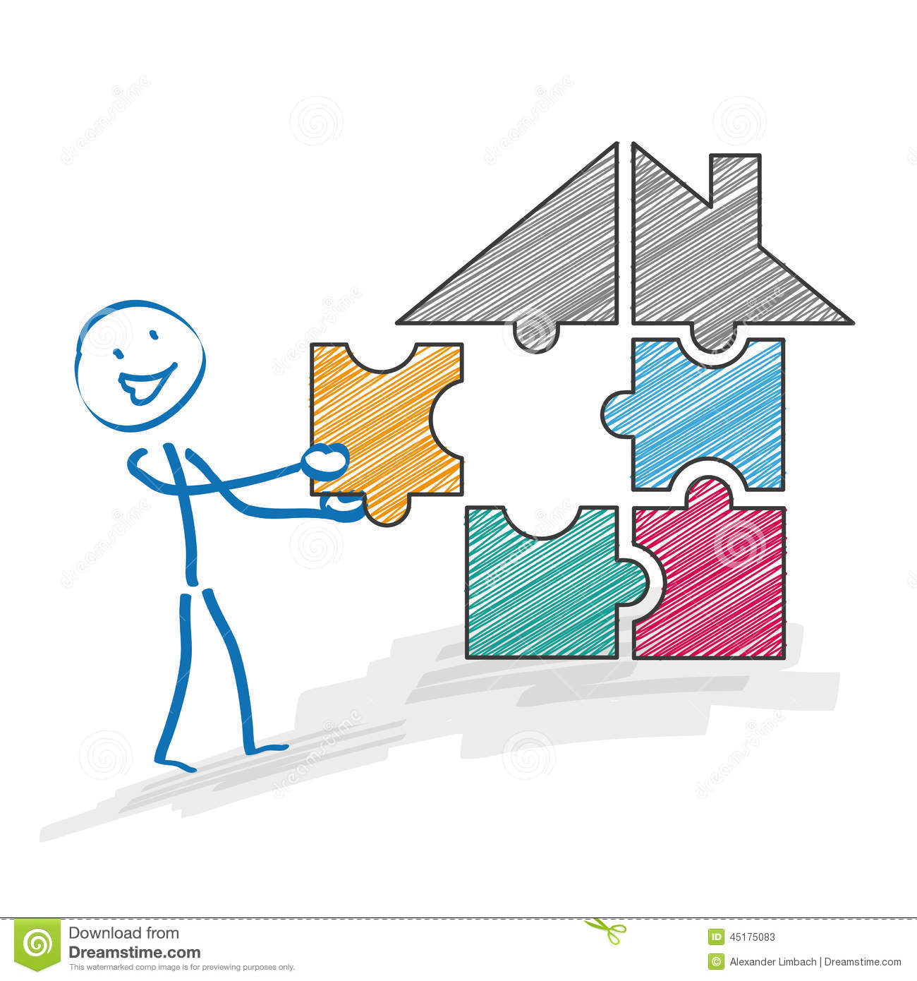 Best Time To Rent An Apartment Stickman Puzzle House Stock Vector Image Of Concept