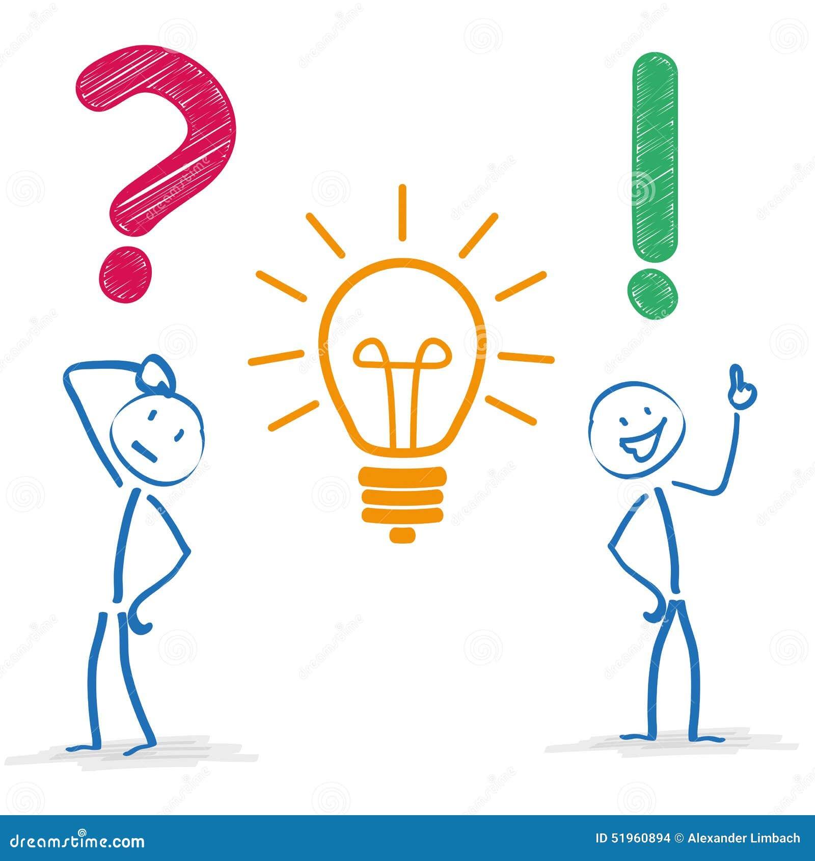 Stickman Question Bulb Answer Stock Vector - Illustration ...