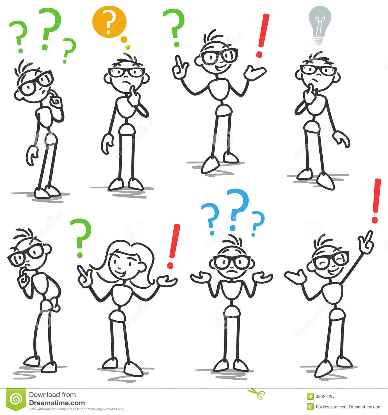 Stickman Question Mark Asking Pondering Stock Vector ...