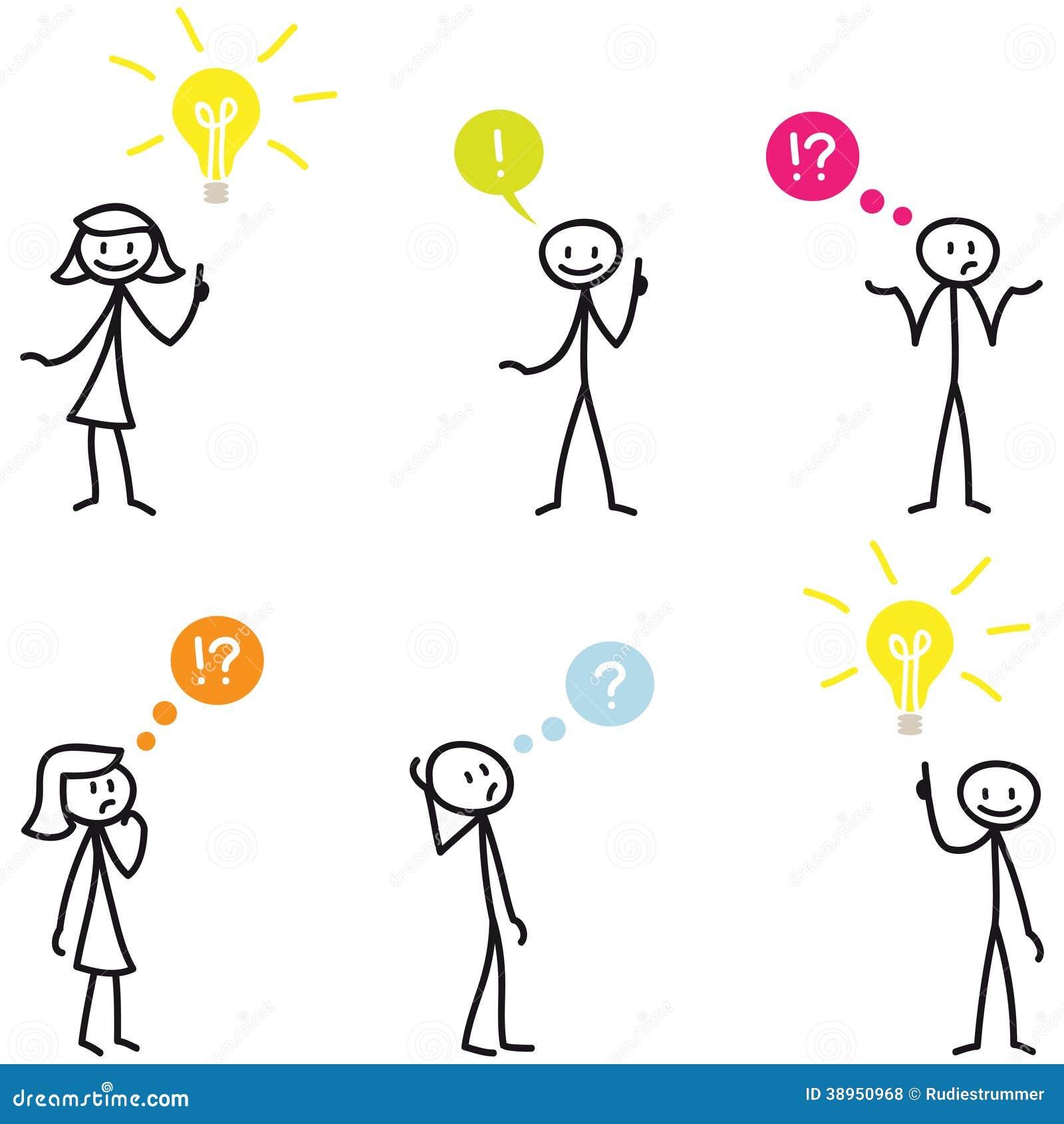 Stickman Stick Figure Light Bulb Idea Question Stock Vector