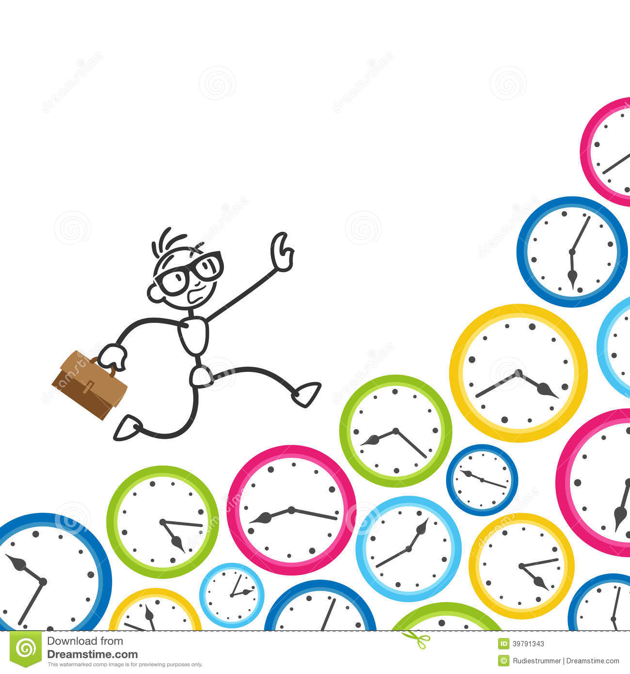 Stickman Stick Figure Time Management Clock Deadline Stock Vector ...