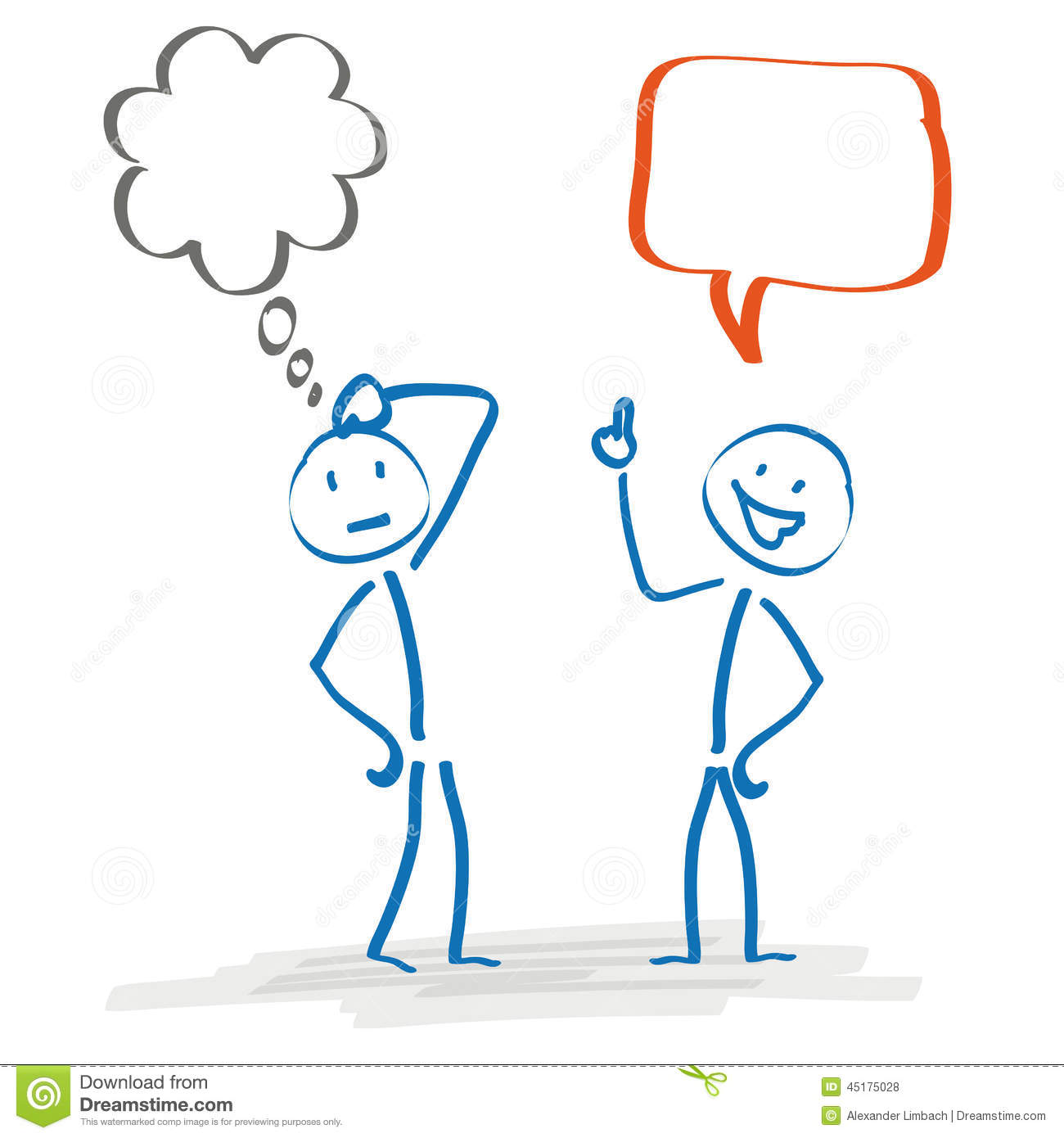 Stickman 2 Thought And Speech Bubble Stock Vector - Image: 45175028