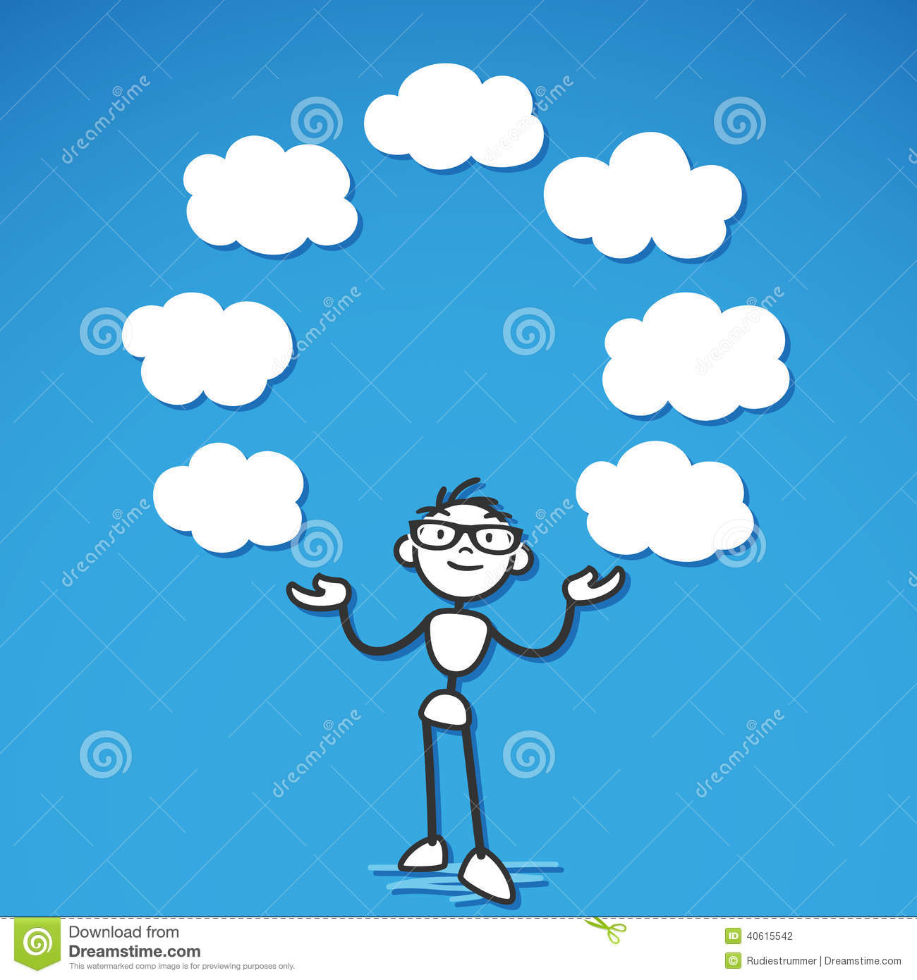 stickman thoughts cloud blank stock vector image 40615542