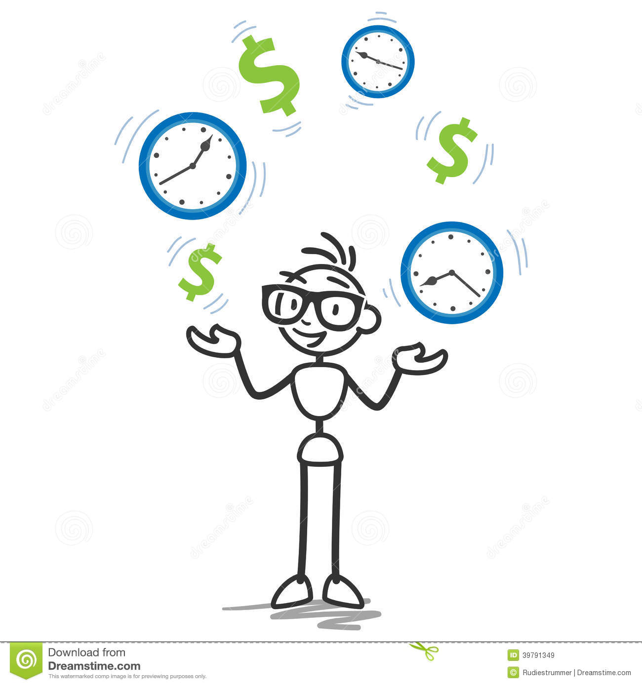 stickman time is money productivity stock vector illustration of