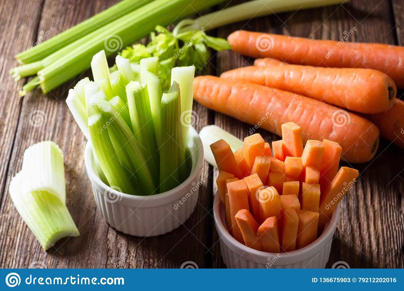 The sticks of carrots and celery
