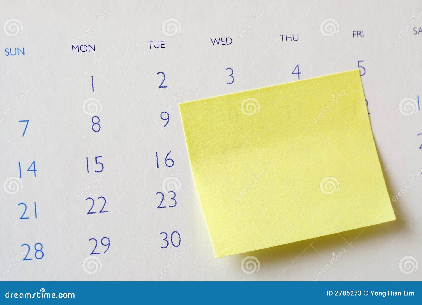 Weekly Calendar Sticky Notes : Sticky note on calendar stock photos image