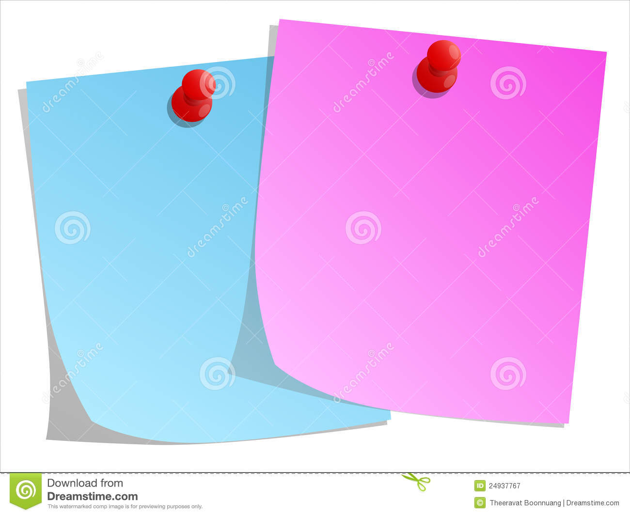 sticky note and red push pin royalty free stock