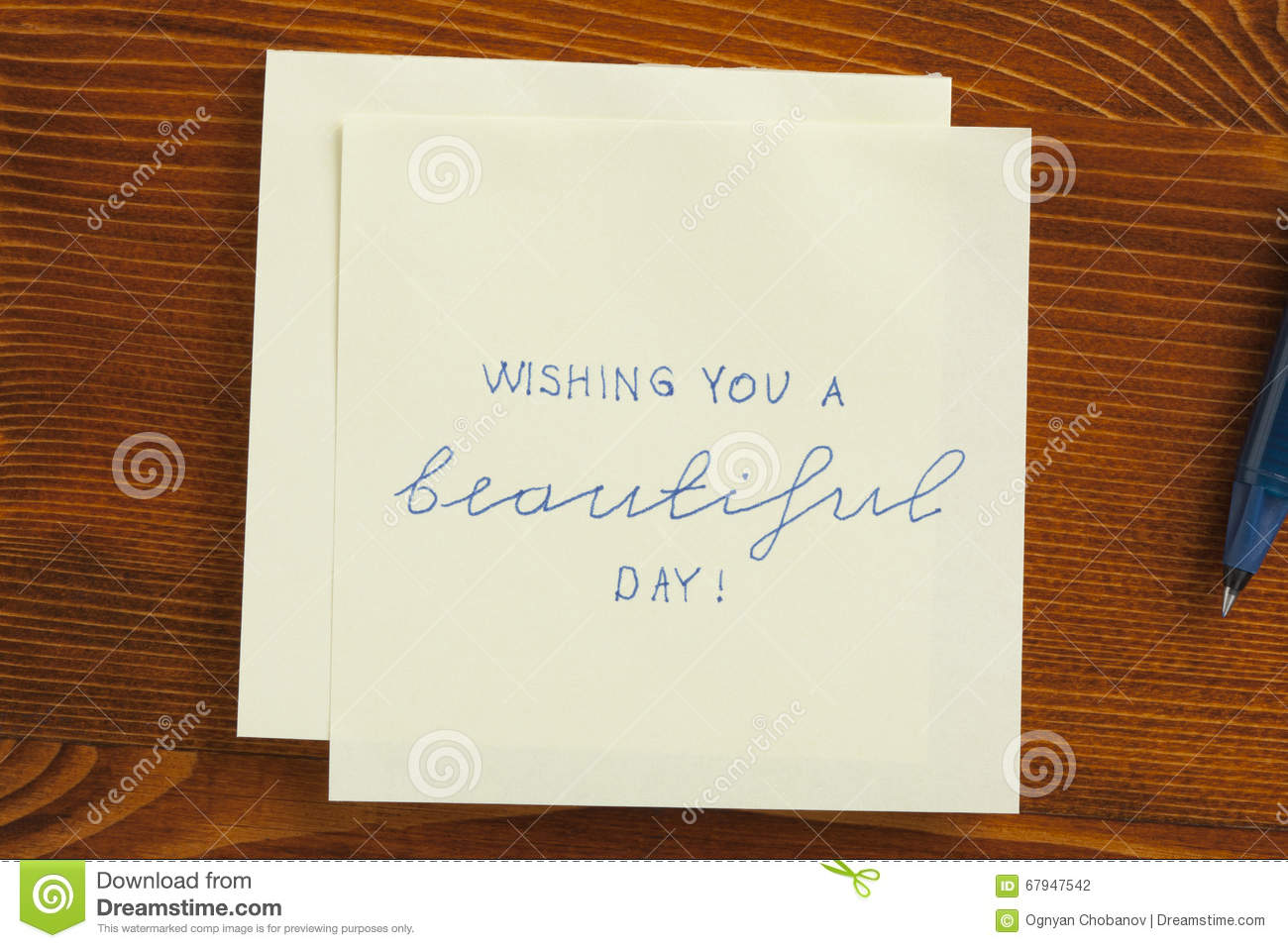 Sticky Note With Text Wishing You A Beautiful Day Stock Photo