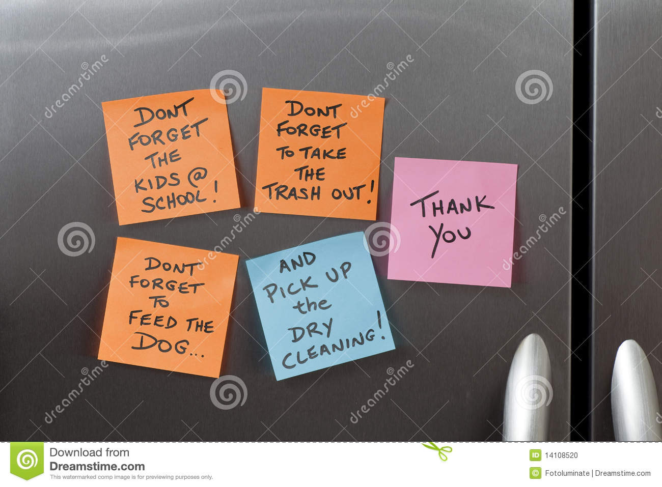 sticky notes   refrigerator stock photo image  note life