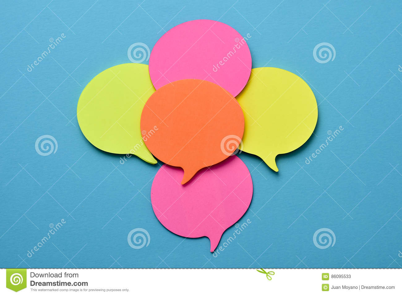 sticky notes in the shape of speech balloons stock image image of