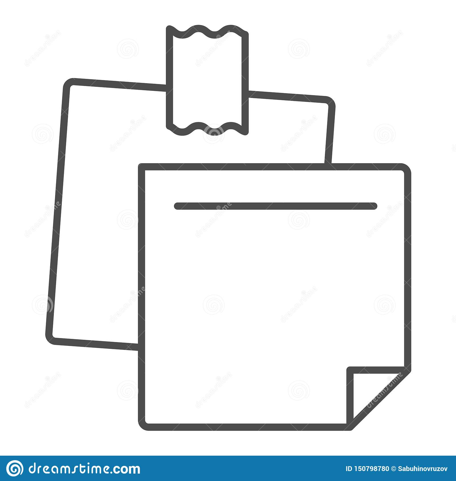 Sticky Notes Thin Line Icon  Paper Stickers Vector