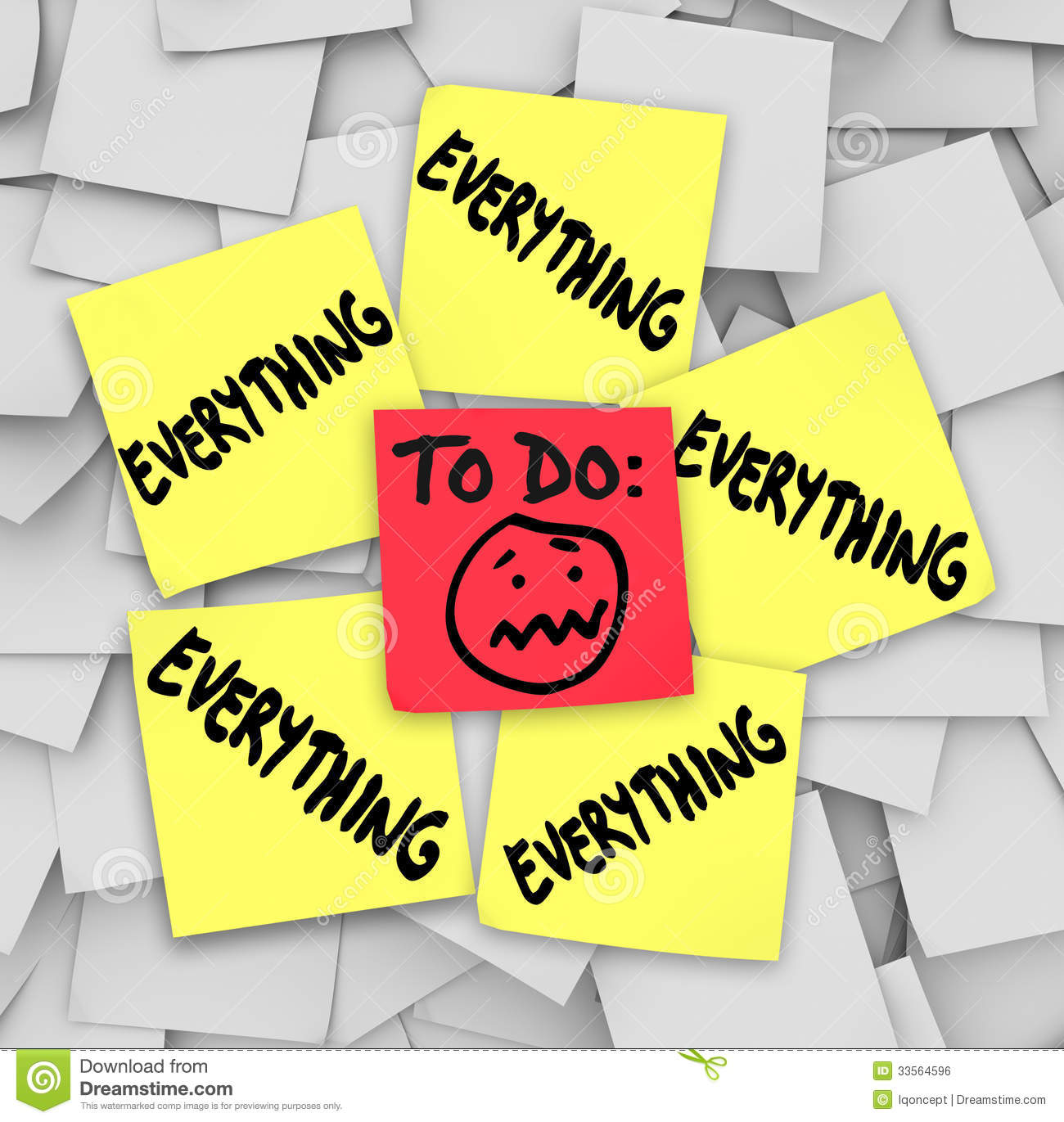 Sticky Notes To Do List Everything Overwhelming Tasks Royalty Free ...