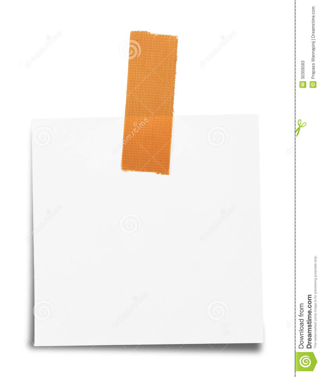 Sticky tape on note paper isolated stock photos image 30309583