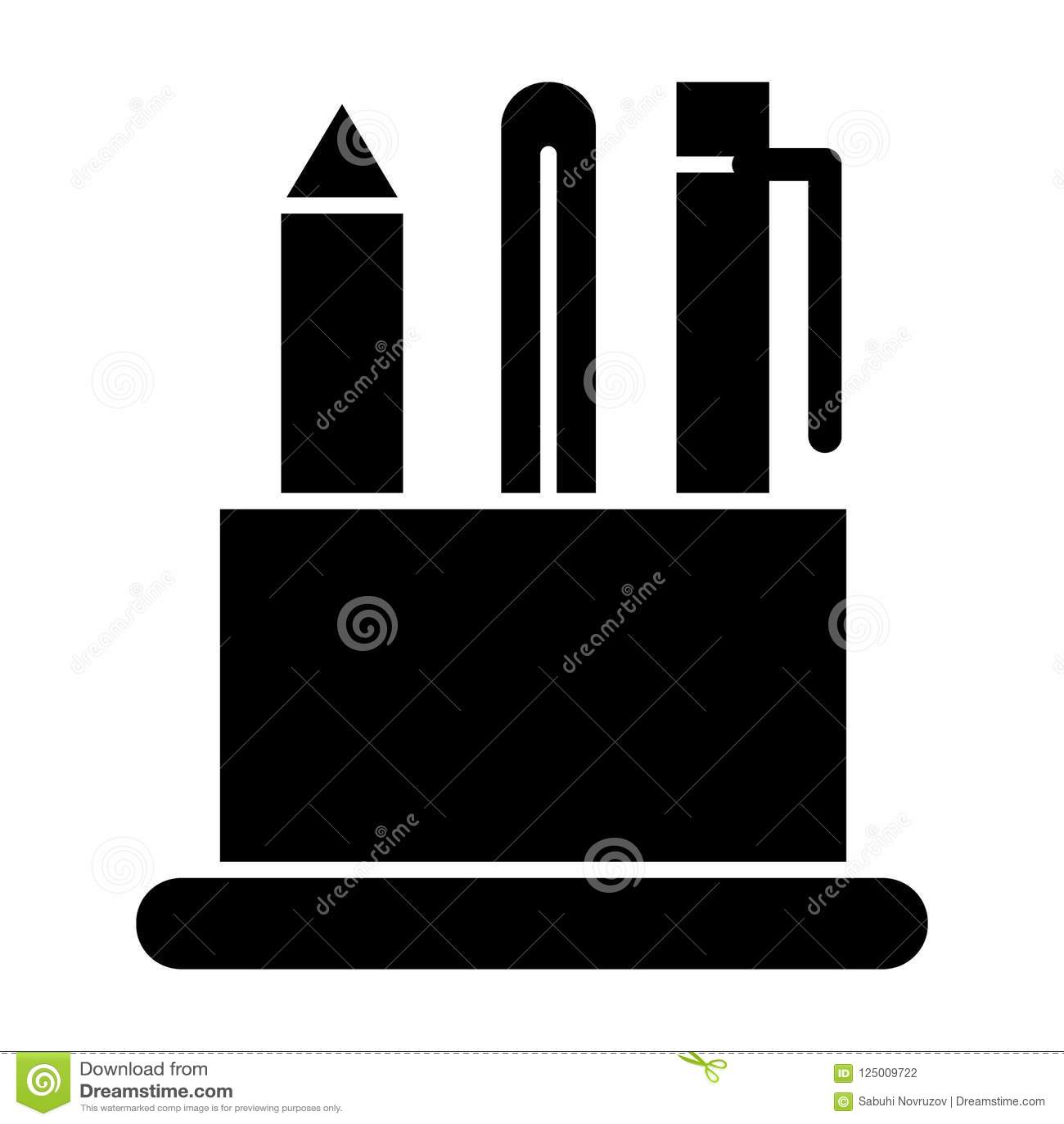 Stifthalter-Körperikone Bleistiftkasten-Vektorillustration lokalisiert auf Weiß Tischplattenorganisator Glyph-Artdesign, entworfe