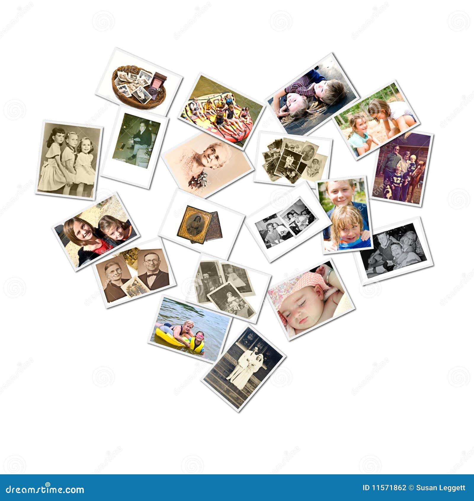 Stil för foto för collagefamiljhjärta