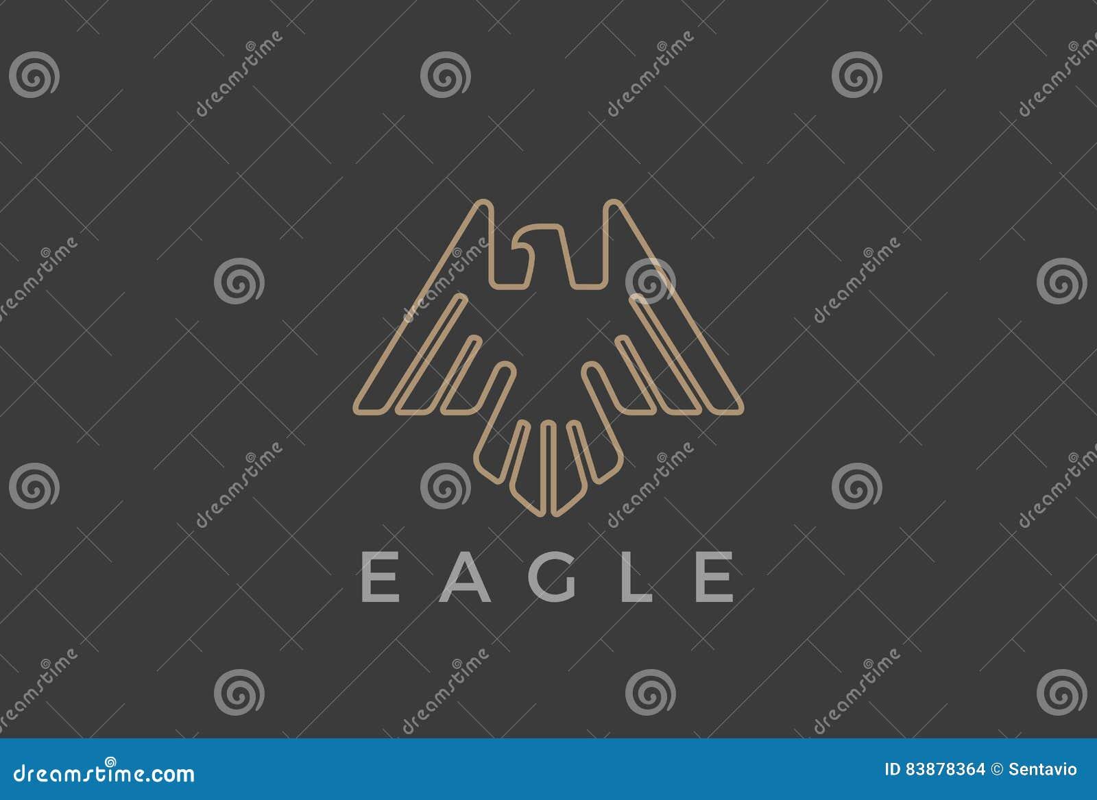 Stil för mall för vektor för design för Eagle Bird flyglogo linjär lyxig heraldisk Falkhök som skjuta i höjden översiktslogotypsy