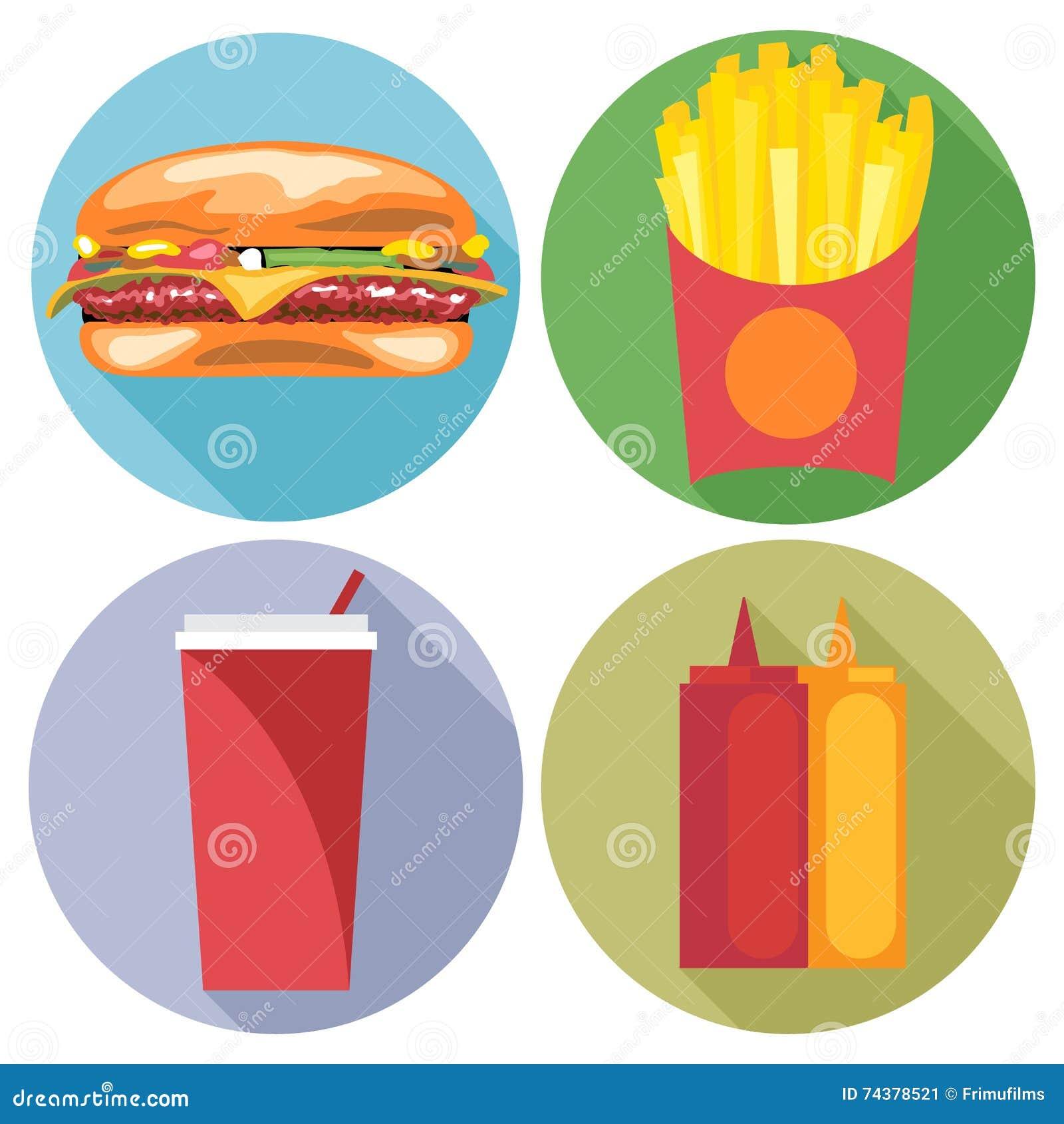 Stil för mat- och drinkuppsättninglägenhet Hamburgare, cola, chiper, ketchup och majonnäs