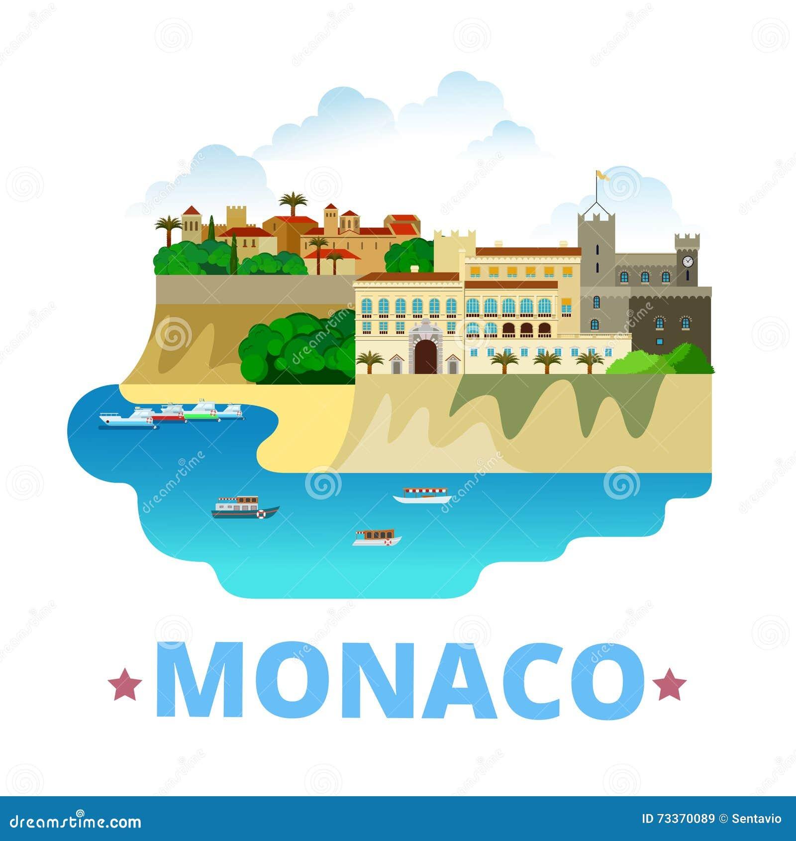 Stil för tecknad film för lägenhet för mall för Monaco landsdesign