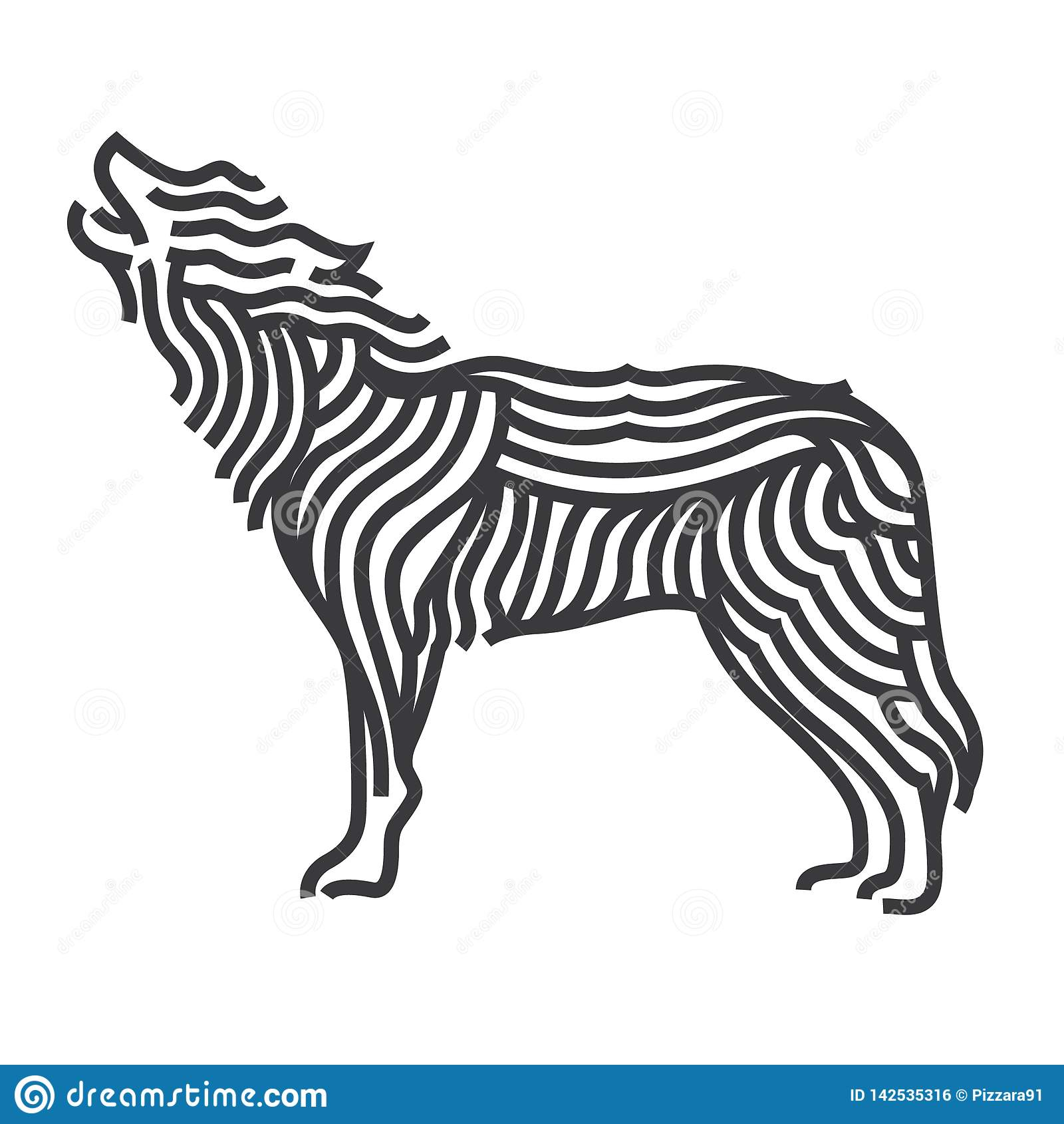 Stil för vargsymbolkonst Linjen vektor illustrerar