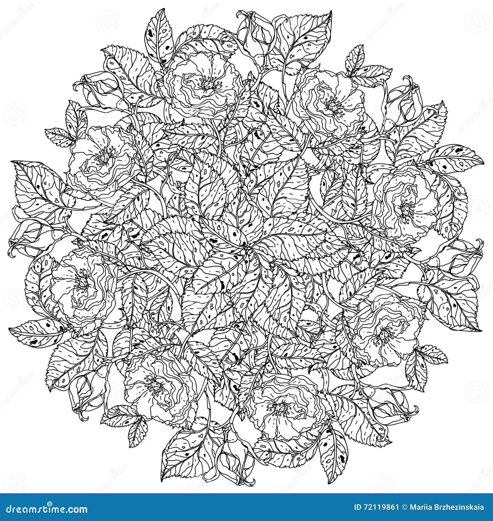 Stile antistress del libro da colorare di natura morta for Colorare le rose