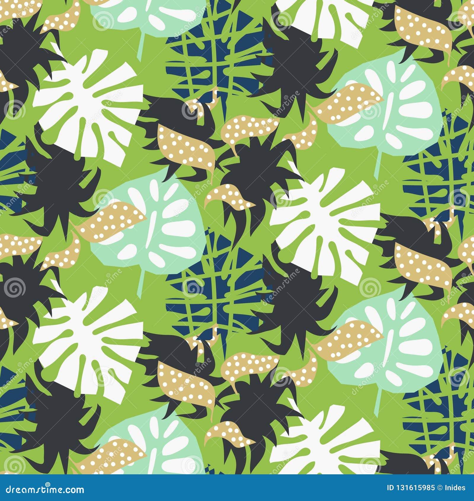 Stile astratto del collage delle foglie esotiche tropicali verdi Modello senza cuciture della stampa della carta da parati e del