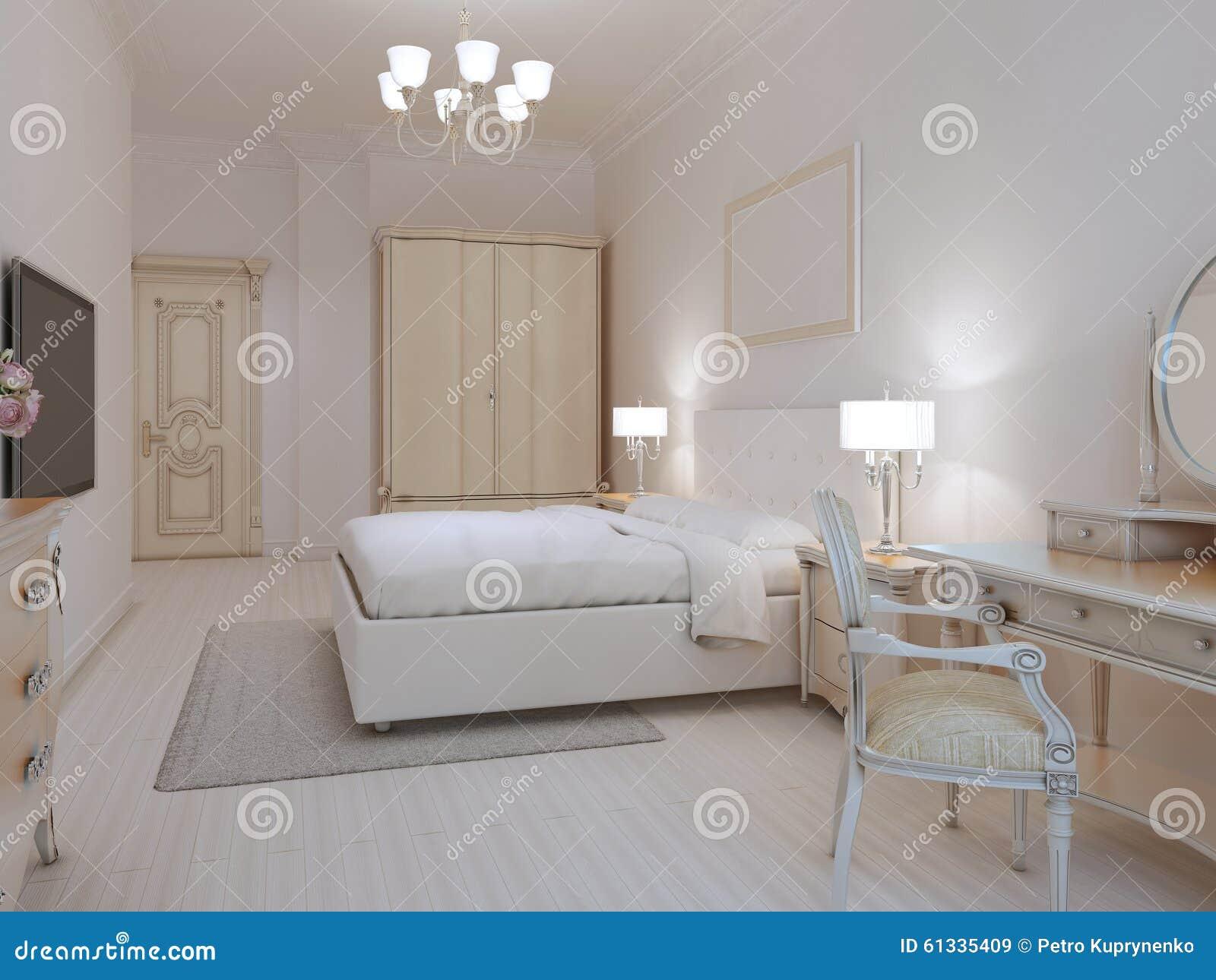 Camere Da Letto Art Deco : Stile bianco di art deco della camera da letto illustrazione di