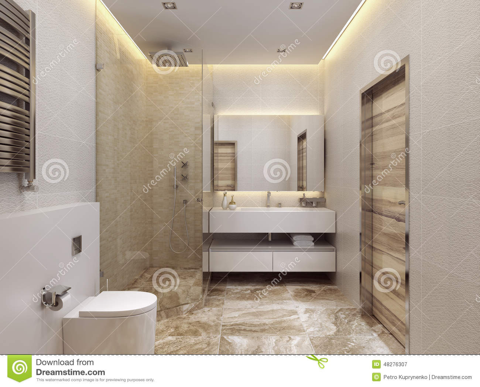 Stile contemporaneo del bagno illustrazione di stock immagine 48276307 - Bagno contemporaneo ...