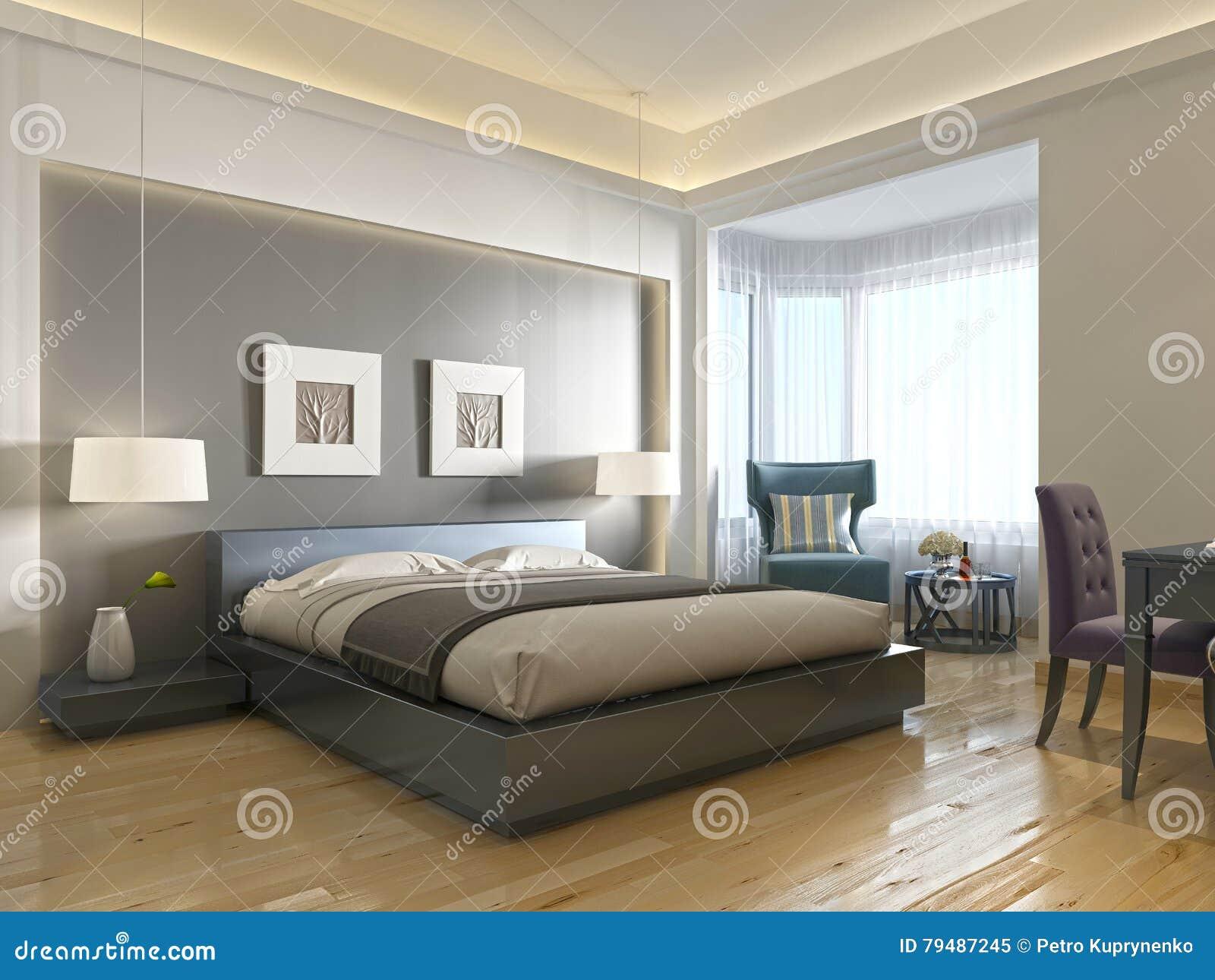 Stile contemporaneo della camera di albergo moderna con gli elementi dell art deco