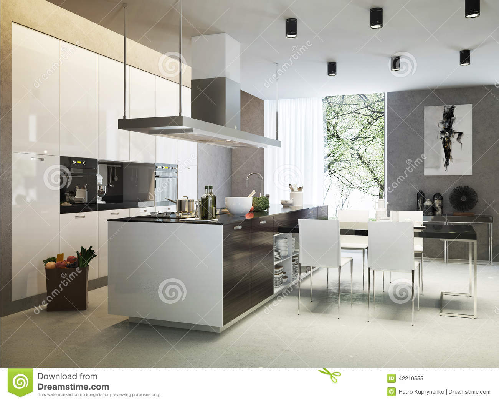 Stile contemporaneo della cucina illustrazione di stock for Pavimento della cucina in stile artigiano
