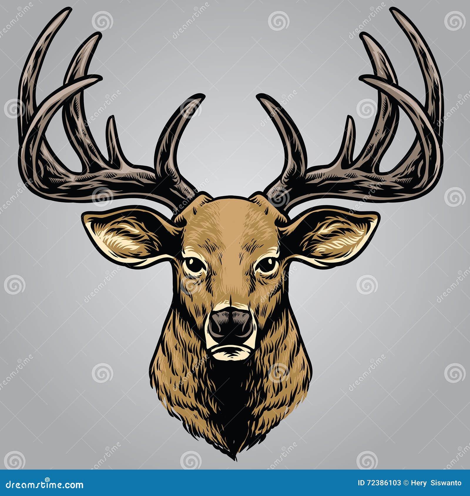 Stile del disegno della mano della testa dei cervi