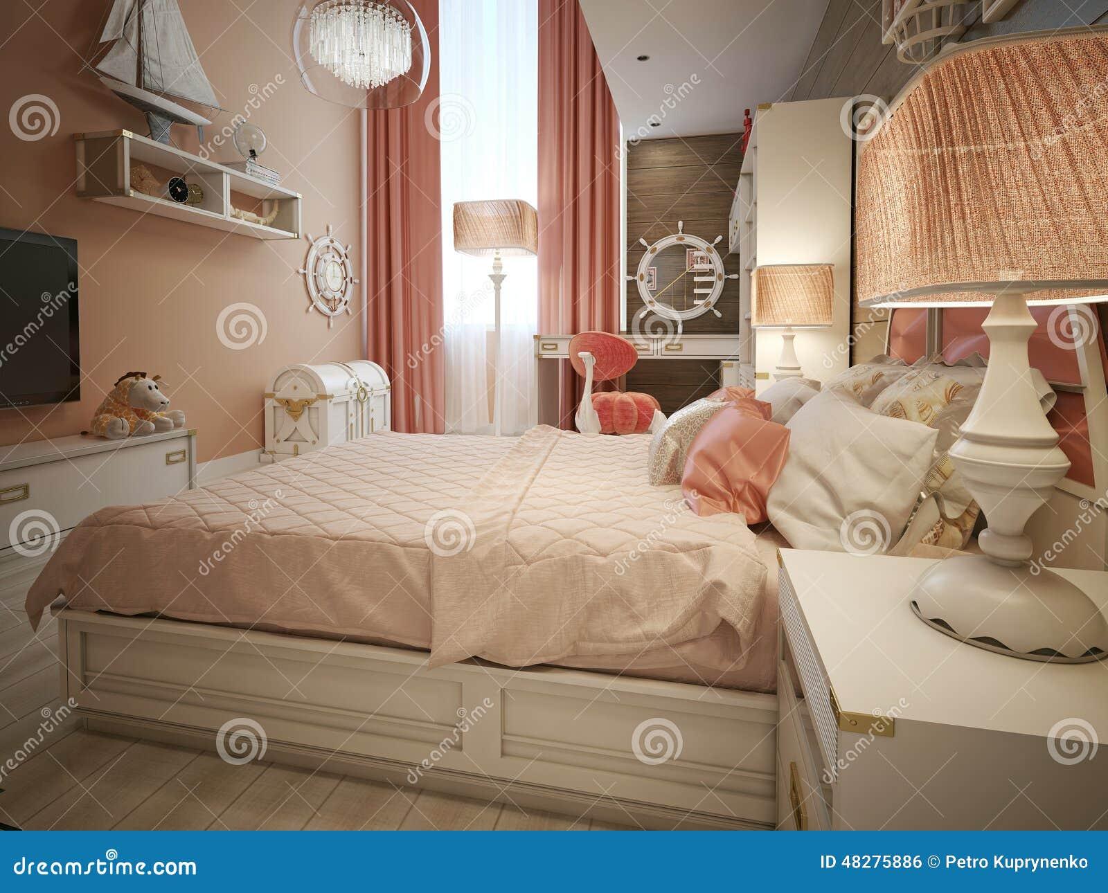 Stile del marinaio della camera da letto delle ragazze illustrazione